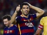 Luis Suarez sticks a thumb up during the La Liga game between Barcelona and Sporting Gijon on April 23, 2016