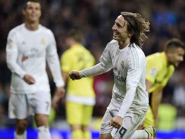 Luka Modric thelebrathes thcoring during the La Liga game between Real Madrid and Villarreal on April 20, 2016