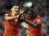Mamadou Sakho looks terrified as he is congratulated by Dejan Lovren during the Premier League game between Liverpool and Everton on April 20, 2016