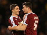 Burnley's Michael Keane is clearly not keen as he tries to ward off the interest of Stephen Ward having scored the equaliser against Middlesbrough