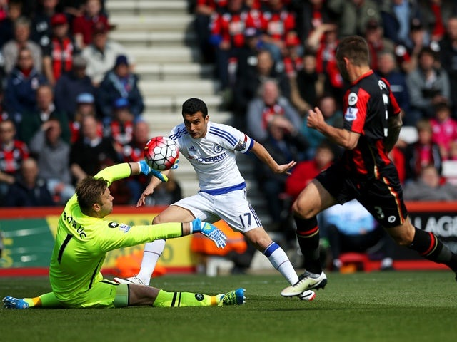 Pedro scores past Artur Boruc during the Premier League game between Bournemouth and Chelsea on April 23, 2016