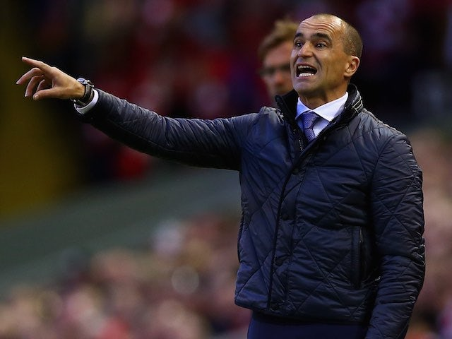 Roberto Martinez protests a decision during the Premier League game between Liverpool and Everton on April 20, 2016