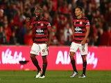 Romeo Castelen of Western Sydney Wanderers celebrates winning the A-League semi-final against the Brisbane Roar at Pirtek Stadium on April 24, 2016