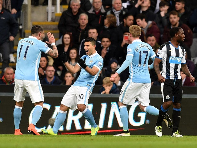 Sergio Aguero celebrates joining the 100 club with the opening goal in his side's Premier League clash with Newcastle United on April 19, 2016