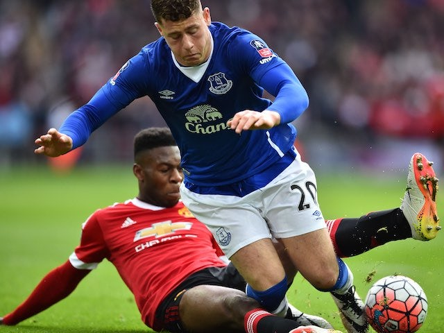 Timothy Fosu-Mensah brings down Ross Barkley during the FA Cup semi-final between Everton and Manchester United on April 23, 2016