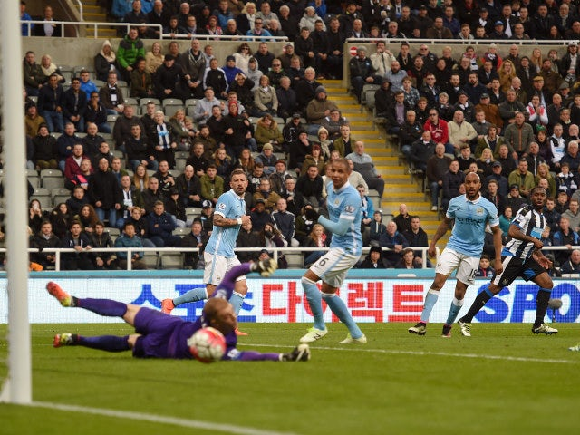 Vurnon Anita beats Joe Hart to equalise for Newcastle United against Manchester City in the Premier League on April 19, 2016