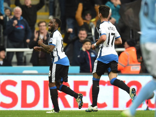 Vurnon Anita celebrates levelling things up for Newcastle United in their Premier League clash with Manchester City on April 19, 2016