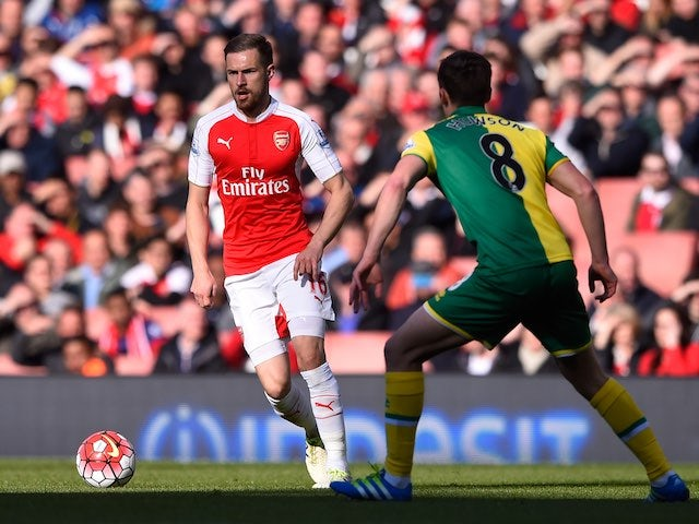 Aaron Ramsey in action during the Premier League game between Arsenal and Norwich City on April 30, 2016