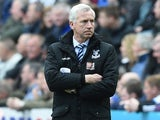 Alan Pardew watches on during the Premier League game between Newcastle United and Crystal Palace on April 30, 2016