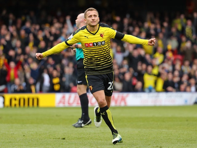 Almen Abdi celebrates scoring his team's first goal during the Premier League match between Watford and Aston Villa on April 30, 2016