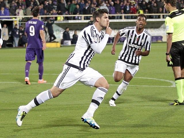 Alvaro Morata celebrates after scoring a goal during the Serie A match between Fiorentina and Juventus at Stadio Artemio Franchi on April 24, 2016