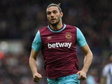 Andy Carroll in action during the Premier League match between West Bromwich Albion and West Ham United on April 30, 2016