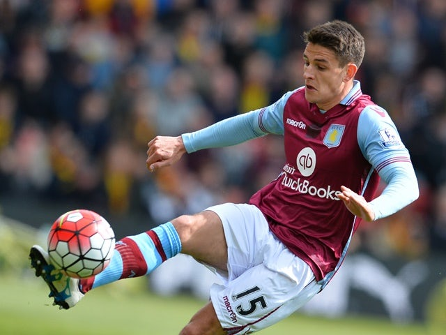 Ashley Westwood controls the ball during the Premier League match between Watford and Aston Villa on April 30, 2016