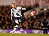 Christian Eriksen of Tottenham Hotspur shoots from a free kick during the Premier League match against West Bromwich Albion at White Hart Lane on April 25, 2016