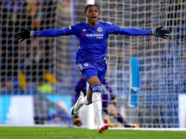 Dujon Sterling of Chelsea celebrates his goal during the FA Youth Cup final on April 27, 2016