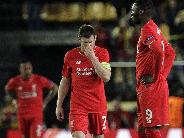 James Milner reacts to the hosts' goal during the Europa League semi-final between Villarreal and Liverpool on April 28, 2016