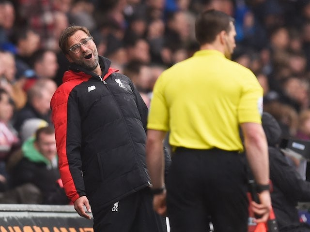 Jurgen Klopp larks about during the Premier League game between Swansea City and Liverpool on May 1, 2016