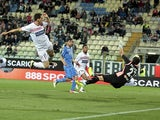 Kevin Lasagna of Carpi scores the opening goal during the Serie A match against Empoli on April 25, 2016