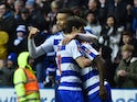 Lucas Piazon celebrates with Michael Hector after scoring their third goal during the FA Cup fifth-round match between Reading and West Bromwich Albion on February 20, 2016