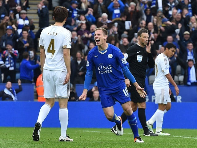 Marc Albrighton celebrates scoring the Foxes' fourth goal during the Premier League match between Leicester City and Swansea on April 24, 2016