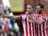Marko Arnautovic celebrates scoring his side's first goal during the Premier League match between Stoke City and Sunderland on April 30, 2016