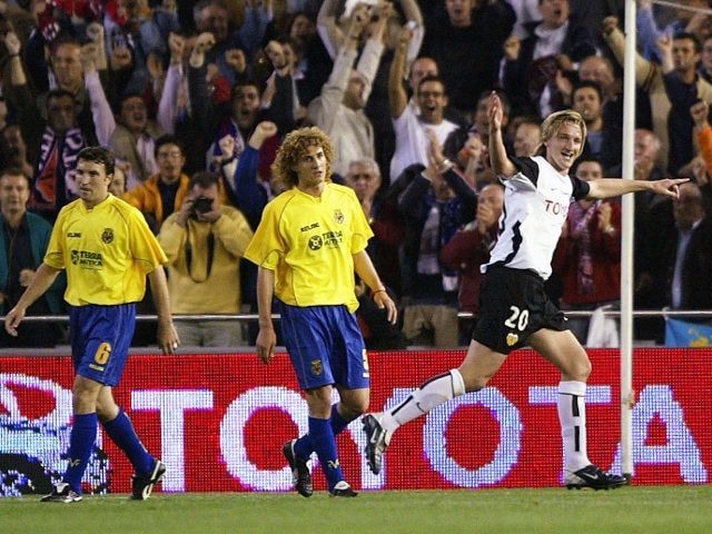 Mista celebrates after scoring the decisive goal in the 2003-04 UEFA Cup semi-final for Valencia against Villarreal