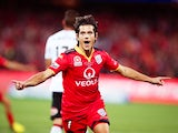 Pablo Sanchez Alberto of Adelaide United celebrates after scoring a goal during the 2015-16 A-League Grand Final agianst Western Sydney Wanderers at the Adelaide Oval on May 1, 2016