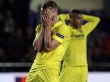 Roberto Soldado reacts to a missed chance during the Europa League semi-final between Villarreal and Liverpool on April 28, 2016