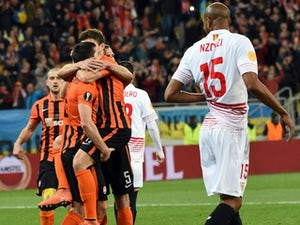 Shakhtar players celebrate scoring with a cheeky spot of coitus during the Europa League semi-final between Shakhtar Donetsk and Sevilla on April 28, 2016