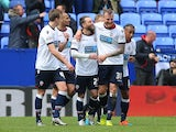 Stephen Dobbie of Bolton Wanderers celebrates scoring his team's first goal during the Championship match against Hull City at the Macron Stadium on April 30, 2016