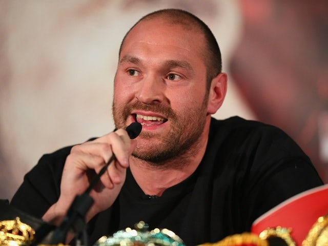 Tyson Fury looks on during a press conference ahead of his fight with Wladimir Klitschko at the Manchester Arena on April 27, 2016
