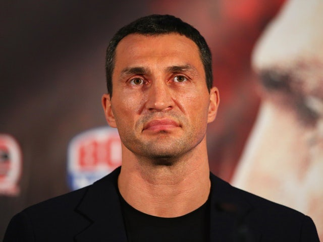 Wladimir Klitschko looks on during a head-to-head press conference with Tyson Fury at Manchester Arena on April 27, 2016