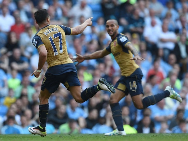 Alexis Sanchez celebrates after scoring for Arsenal against Manchester City on May 8, 2016