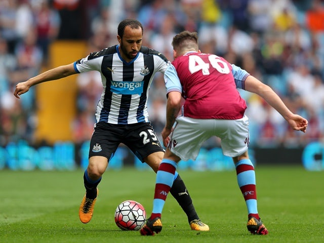 Andros Townsend and Kevin Toner in action during the Premier League match between Aston Villa and Newcastle United on May 7, 2016