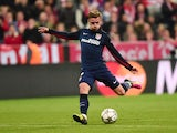 Antoine Griezmann scores Atletico Madrid's equaliser in the Champions League semi-final second leg against Bayern Munich on May 3, 2016