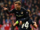 Antoine Griezmann celebrates after scoring for Atletico Madrid in the Champions League semi-final second leg against Bayern Munich on May 3, 2016