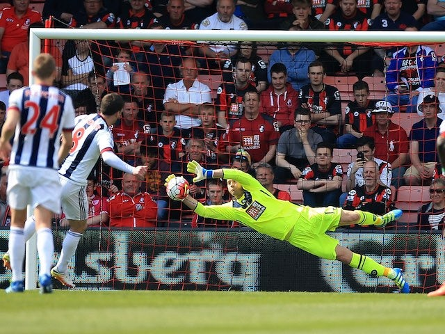 Artur Boruc saves Craig Gardner's penalty during the Premier League game between Bournemouth and West Bromwich Albion on May 7, 2016