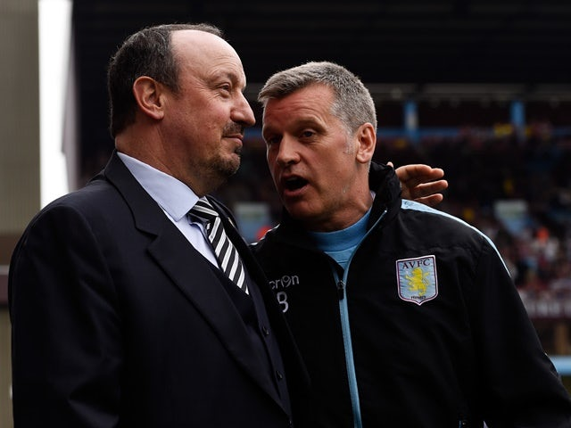 Eric Black and Rafael Benitez ahead of the Premier League match between Aston Villa and Newcastle United on May 7, 2016