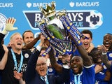 Leicester City lift the Premier League trophy on May 7, 2016