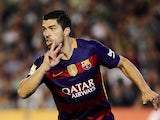 Luis Suarez celebrates scoring during the La Liga game between Barcelona and Espanyol on May 8, 2016
