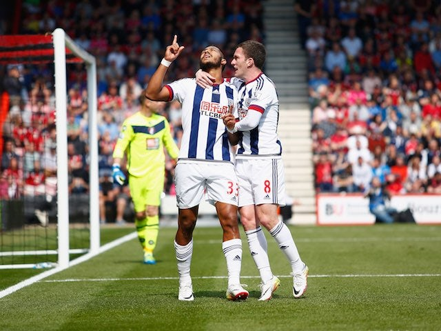 Salomon Rondon celebrates scoring during the Premier League game between Bournemouth and West Bromwich Albion on May 7, 2016