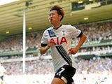 Son Heung-min celebrates scoring during the Premier League game between Tottenham Hotspur and Southampton on May 8, 2016