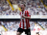 Steven Davis celebrates doubling his tally during the Premier League game between Tottenham Hotspur and Southampton on May 8, 2016