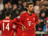 Bayern Munich forward Thomas Muller reacts after missing a penalty in the Champions League semi-final second leg against Atletico Madrid on May 3, 2016