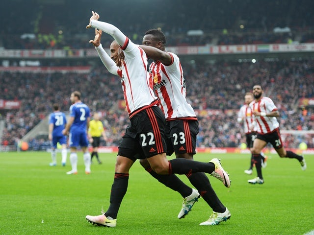 Wahbi Khazri celebrates scoring during the Premier League match between Sunderland and Chelsea on May 7, 2016