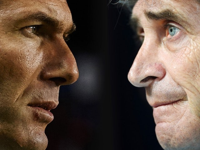 Real Madrid's Zinedine Zidane and Manuel Pellegrini of Manchester City in a collage