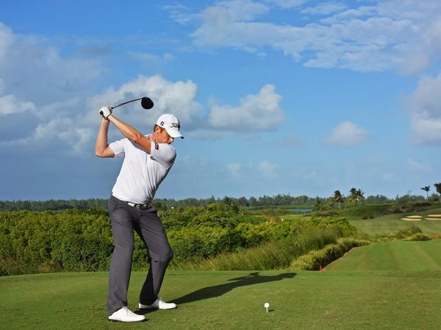 Andrew Dodt plays a shot during the second round of AfrAsia Bank Mauritius Open on May 13, 2016