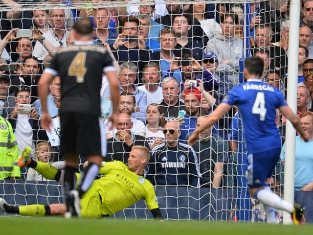 Cesc Fabregas scores during the Premier League game between Chelsea and Leicester City on May 15, 2016