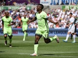Kelechi Iheanacho celebrates scoring during the Premier League game between Swansea City and Manchester City on May 15, 2016