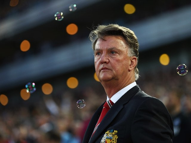 Louis van Gaal thinks about Michael Jackson's new song during the Premier League game between West Ham United and Manchester United on May 10, 2016